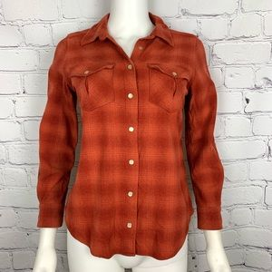 Pendleton Women's Blouse S Orange Plaid Fitted